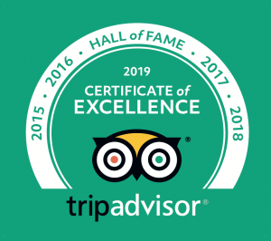 2015-2019 TripAdvisor Hall of Fame Certificate of Excellence Award