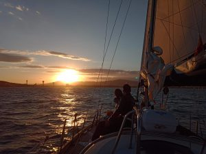 Romantic sunset sailing for a wedding porposal